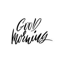 Good morning hand drawn lettering text vector