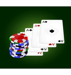 Four aces and chips vector image