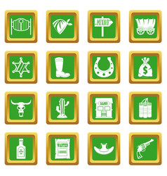 Wild west icons set green vector