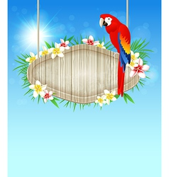red parrot and flowers vector image