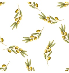Watercolor branches of olives seamless pattern vector