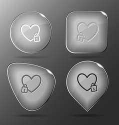 Closed heart glass buttons vector