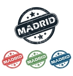 Round madrid city stamp set vector