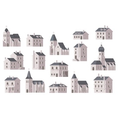 Europe buildings set flat design vector