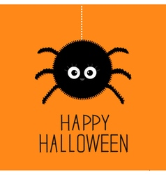 Big hanging fluffy spider happy halloween card vector