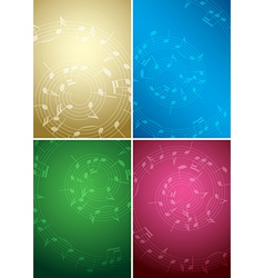 Bright music backgrounds with notes - color set vector