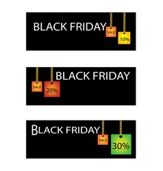 Black friday label with percentages discount sale vector