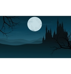 Silhouette of halloween big castle at night vector