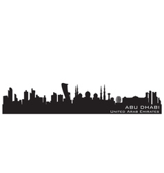 Abu dhabi uae skyline detailed silhouette vector