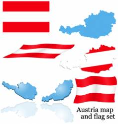 Austria map and flag set vector image