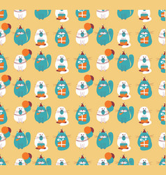 Birthday cats seamless pattern vector