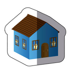 Blue beautiful house with door window and roof vector