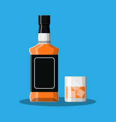Bottle of bourbon whiskey and glass with ice vector