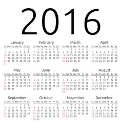 Calendar 2016 sunday vector