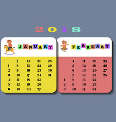 calendar 2018 with children vector image