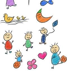 Children Doodle 2 vector image vector image