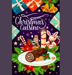 Christmas holiday gift and cake greeting card vector