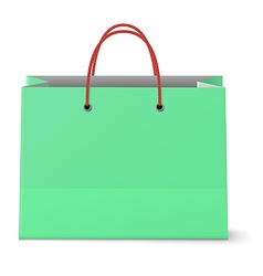 Classic paper shopping green bag with red grips vector