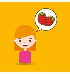 cute girl cartoon strawberry health graphic vector image vector image
