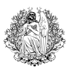 dark angel with floral vector image vector image