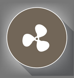 fan sign white icon on brown circle with vector image