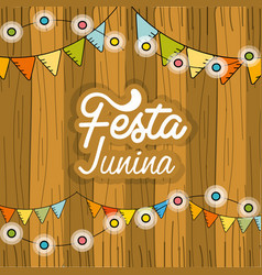 Festa junina with chain bulbs and wood background vector