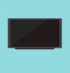 flat black television with blue background vector image vector image