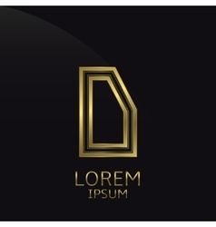 Golden d letter vector