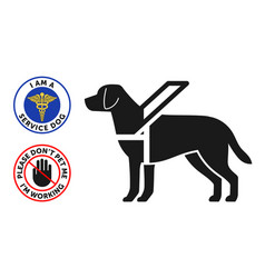 Guide-dog symbol with two round service dog badges vector