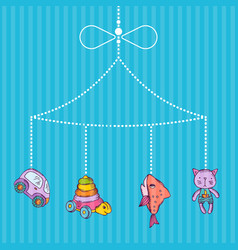 hanging hand drawn kid toys vector image