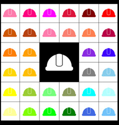 Hardhat sign felt-pen 33 colorful icons vector