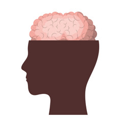 Human face brown silhouette with brain exposed in vector