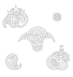Indian paisley set vector image vector image