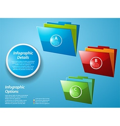 Infographic with glossy folders on blue background vector image vector image