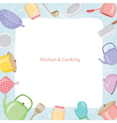 Kitchen equipment border vector