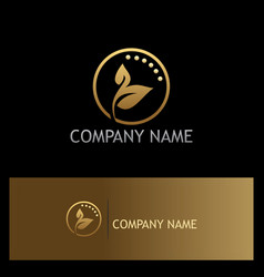 leaf organic beauty cosmetic gold logo vector image
