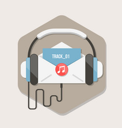 paper letter with music file icon in flat style vector image vector image