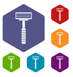 Razor icons set hexagon vector