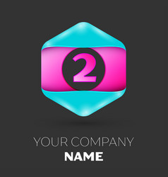 Realistic number two logo in colorful hexagonal vector