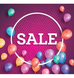Sale poster on red background with flying balloons vector image vector image