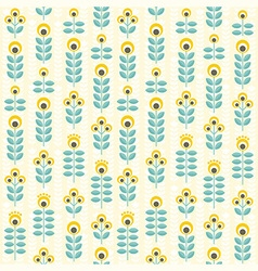 Seamless floral pattern yellow and teal vector image