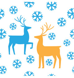 Seamless pattern deers and snow happy new year vector