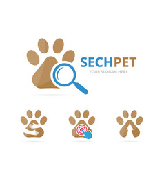 Set of paw logo combination pet and magnifying vector