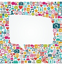 Social media icons white speech bubble shape eps10 vector