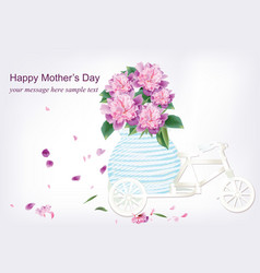 spring delicate flowers bouquet in a bicycle vector image vector image