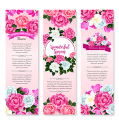 Spring holidays floral greeting banner set vector