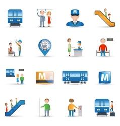 Subway icons set vector