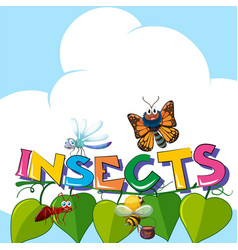 Word insects with many insects on the leaves vector