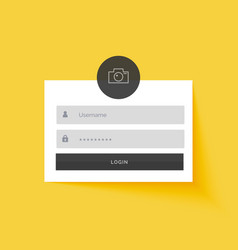 yellow login form template design background vector image vector image