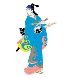 japanese woman in national dress vector image